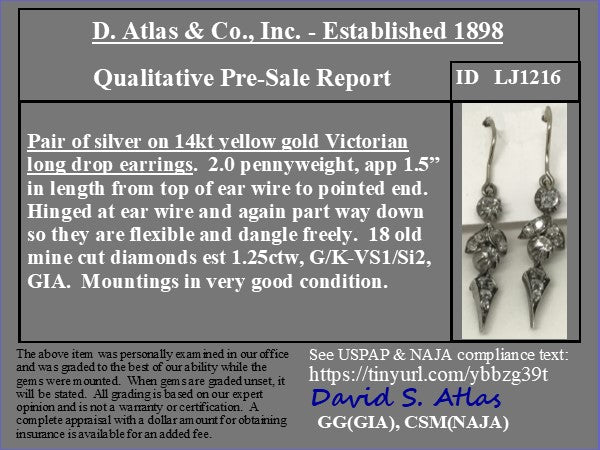1.25ctw Victorian Long Drop Earrings