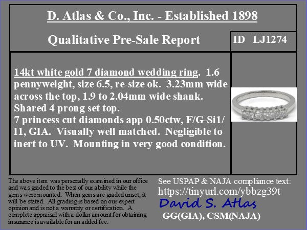 .50ctw 7-Stone Princess Cut Diamond Ring