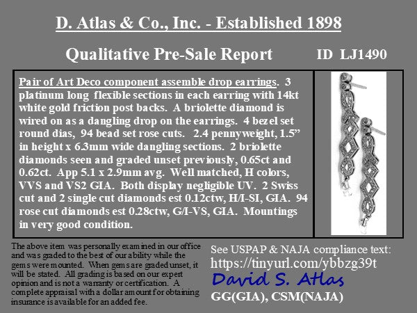 1.67ctw Art Deco Briolette Diamond Drop Earrings
