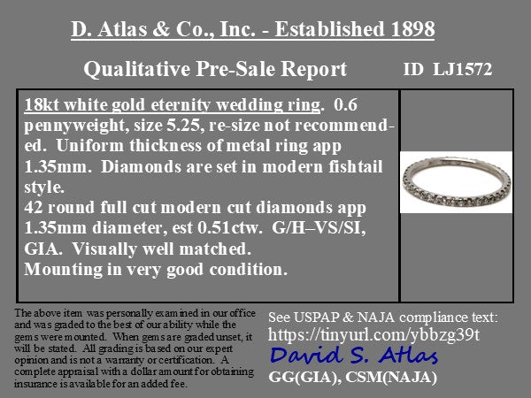 .51ctw Petite Round Briliant Diamond Eternity Band, 18kt White Gold