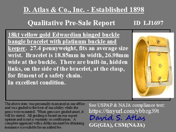 Edwardian-era Gold and Platinum Buckle Bangle
