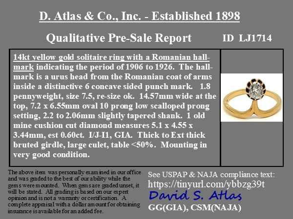 .60ct Antique Old Mine Cushion Cut Solitaire, Romanian