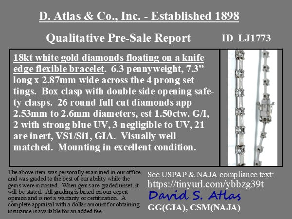 1.50ctw Diamond Line Bracelet, 18kt White Gold