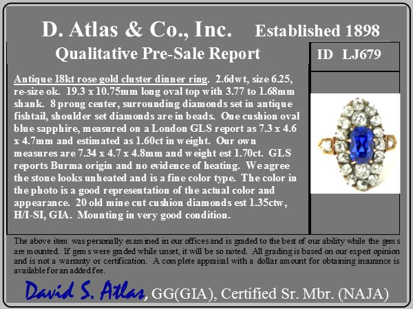 2.95ctw Antique Burmese No-Heat Sapphire Navette Ring