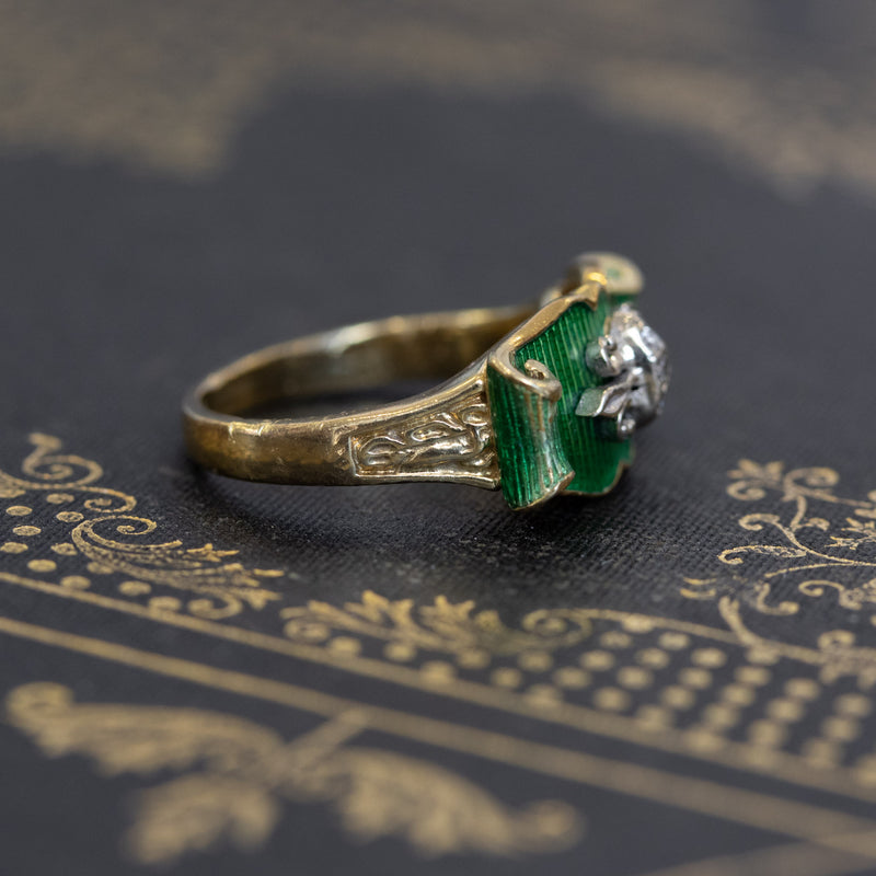 Green Enamel Scroll Diamond Ring
