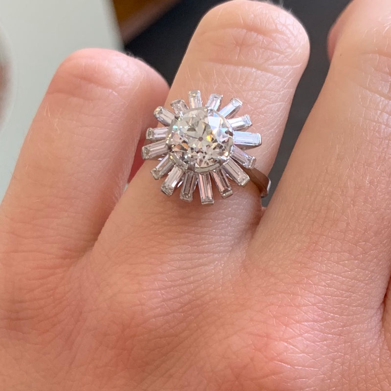2.66ctw Old European Cut Ballerina Ring, GIA L SI1