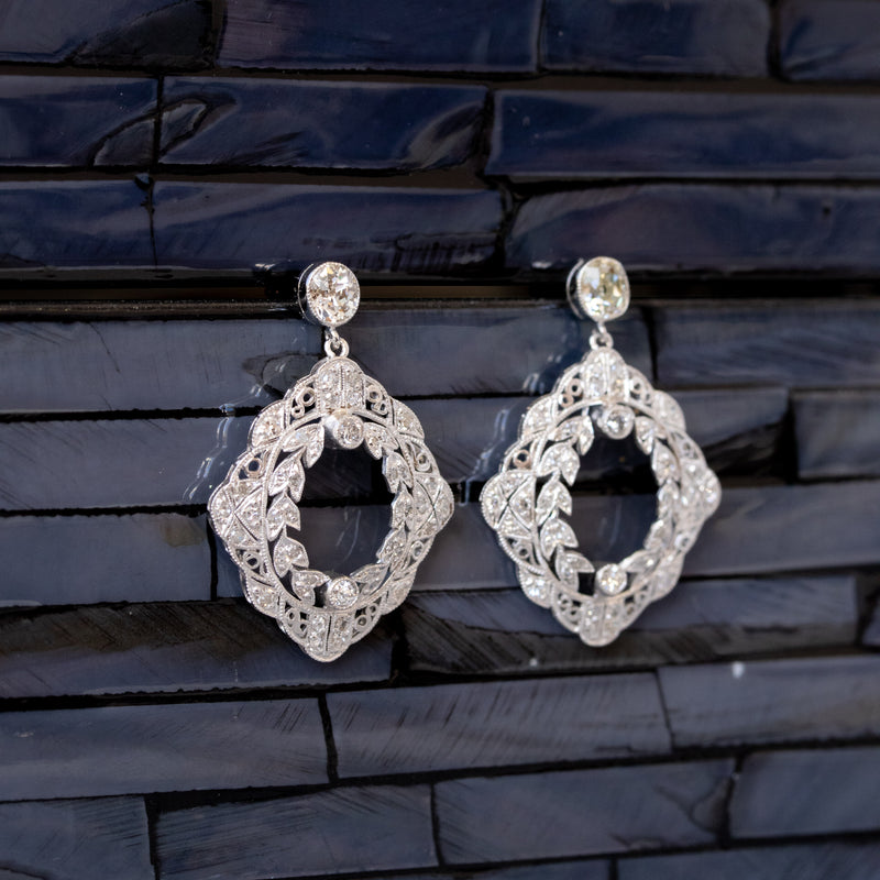 1.38ctw Wreath-Motif Old Mine Cut Diamond Earrings