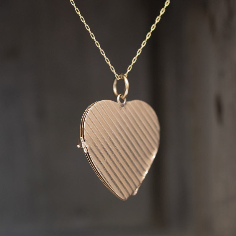 Large Fluted Heart Pendant Book Locket