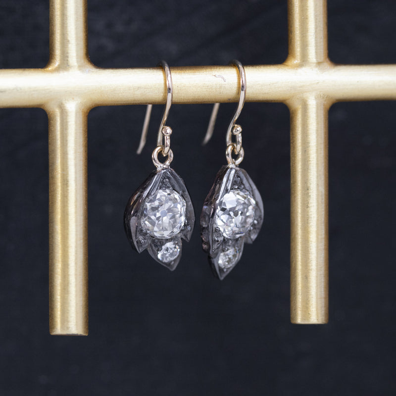 2.23ctw Victorian Old Mine Cut Leaf Motif Drop Earrings