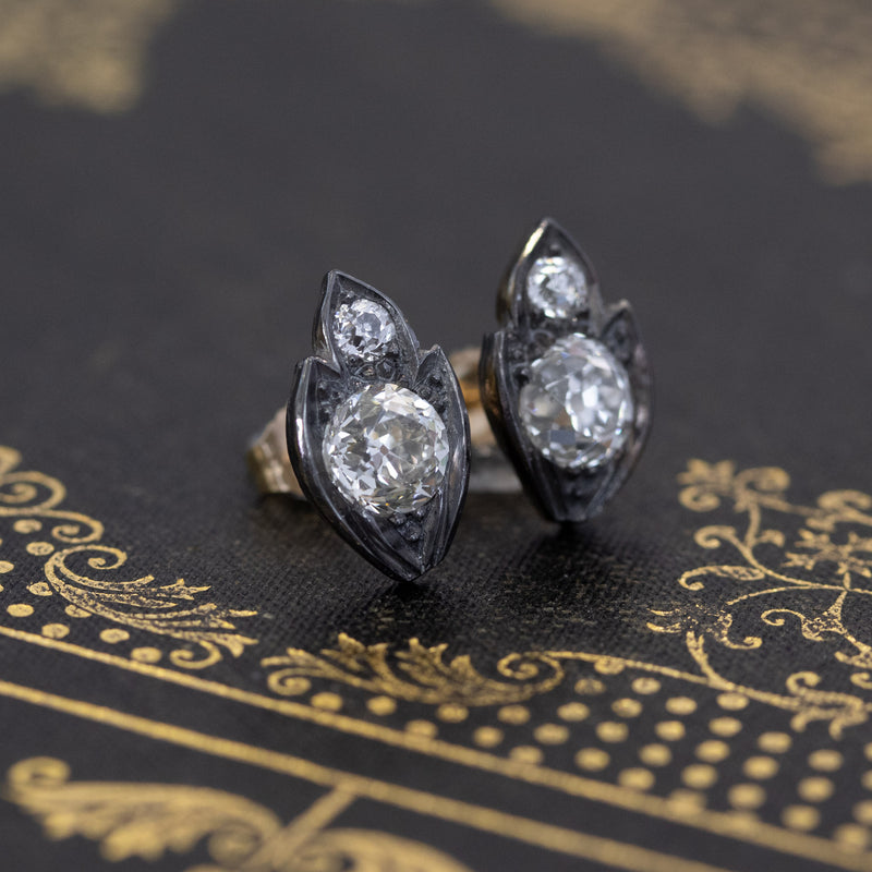 2.31ctw Victorian Diamond Leaf Motif Stud Earrings