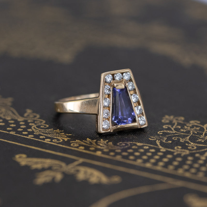 2.04ctw Lozenge Tanzanite & Diamond Ring