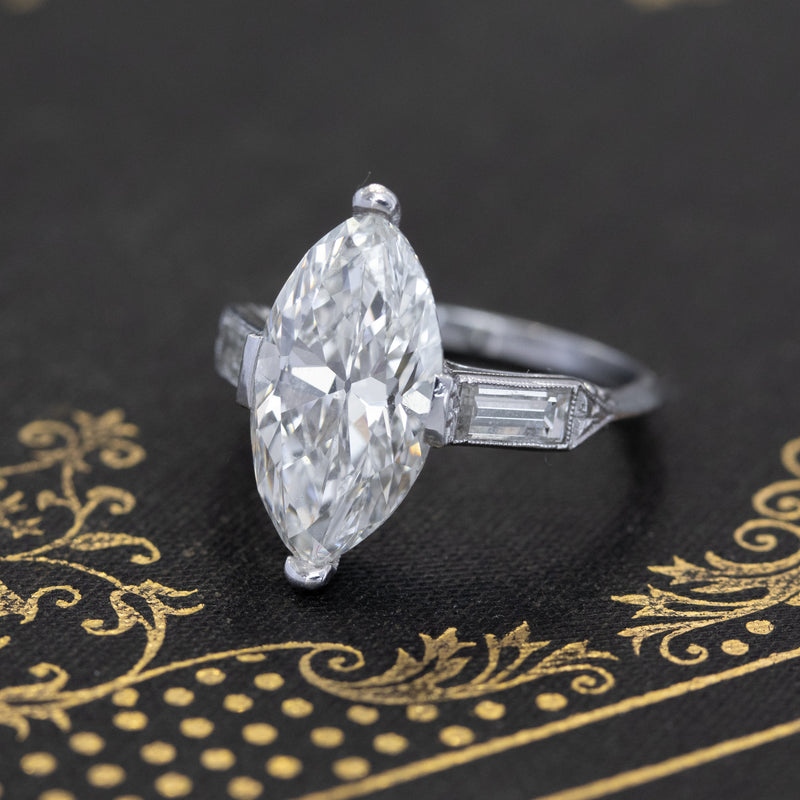 4.02ct Art Deco Antique Marquise Cut Diamond Solitaire, GIA H VVS2