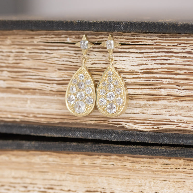 2.05ctw Mixed Old Cut Diamond Mosaic Earrings