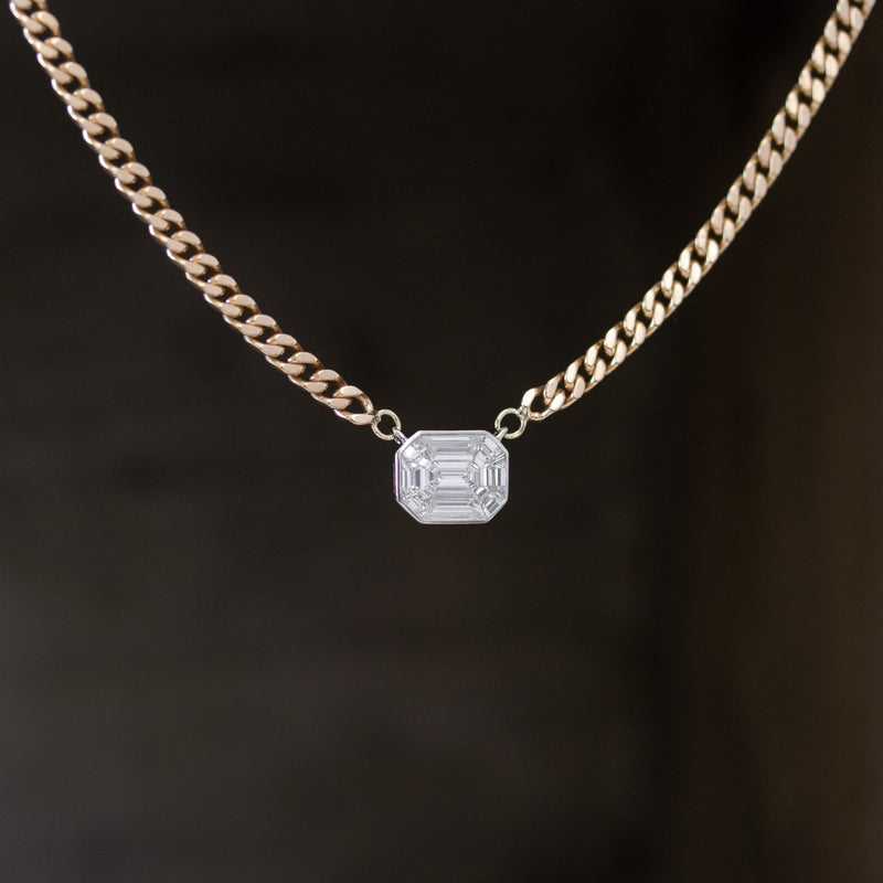 3.50ctw Face Up Emerald Cut Diamond Mosaic Curb Link Necklace
