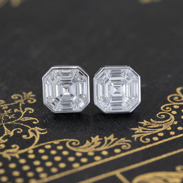7.00ct Face Up Asscher Cut Diamond Mosaic Bezel Stud Earrings