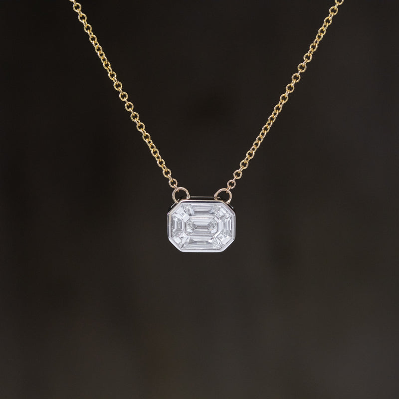 2ct Face Up Emerald Cut Mosaic Diamond Pendant