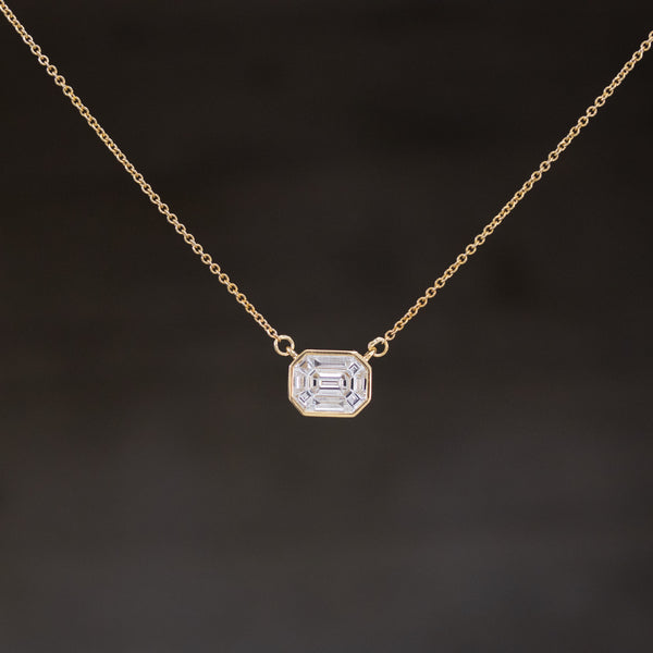 1.25ctw Face Up Emerald Cut Diamond Pendant