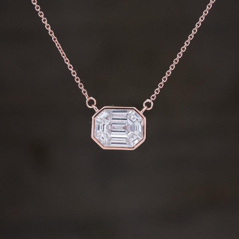 3ct Face Up Mosaic Step Cut Pendant, Rose Gold