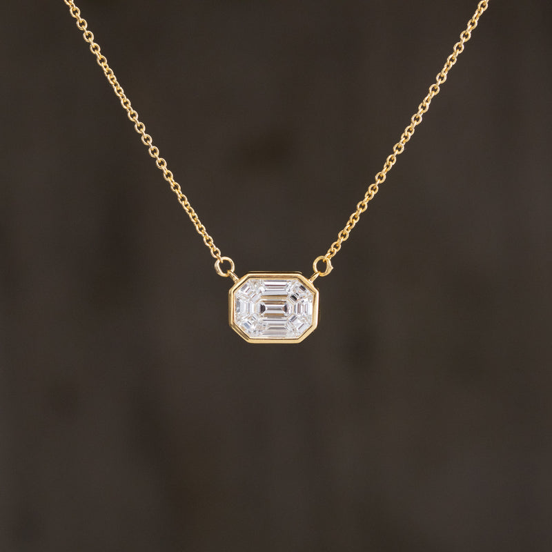 2ctw Face Up Emerald Cut Diamond Mosaic Pendant