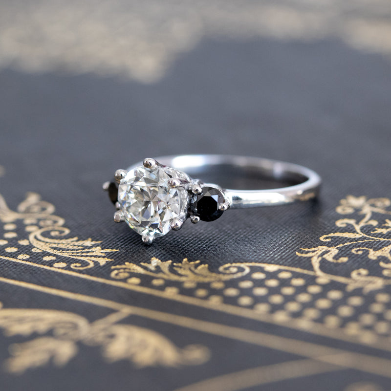 Old European Cut and Black Diamond Trilogy Ring, GIA I VS2