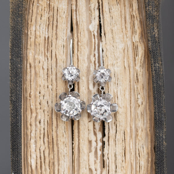 1.47ctw Old European Cut Buttercup Drop Earrings