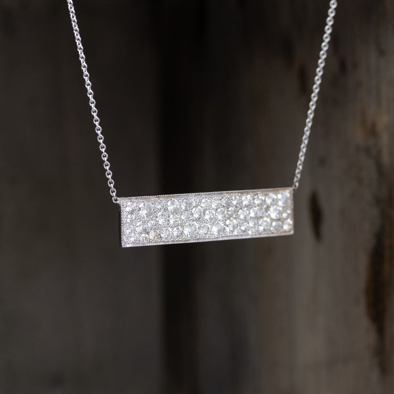 2.55ctw Old European Cut Diamond Bar Pendant