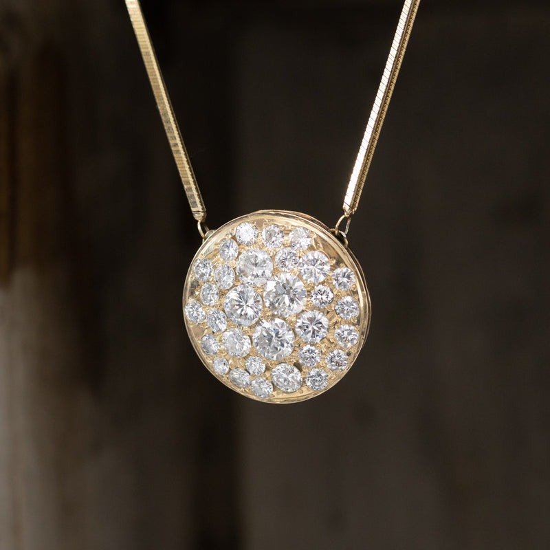 4.85ctw Old European Cut Diamond Cluster Pendant