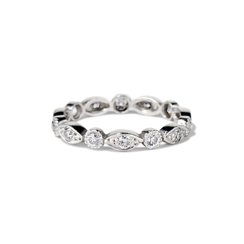"Old European Cut Diamond ""Elizabeth"" Eternity Band by Single Stone, Platinum"