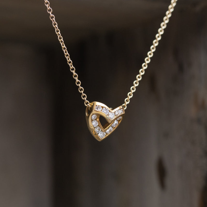 .45ctw Round Cut Diamond Heart Pendant, by Krypell