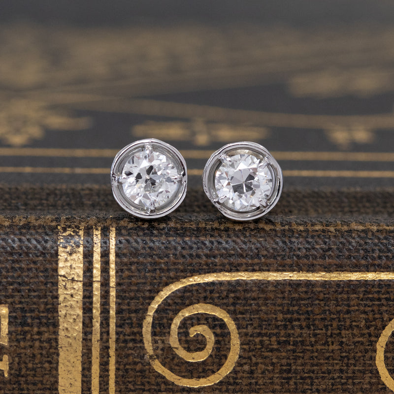 .45ctw Edwardian Old European Cut Diamond Studs