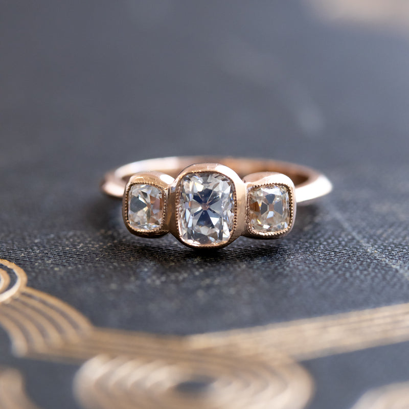 1.68ctw Old Mine Cushion Cut Trilogy Ring