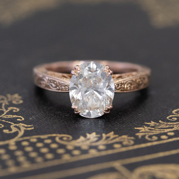 2.48ct Oval Cut Diamond Solitaire, Rose Gold