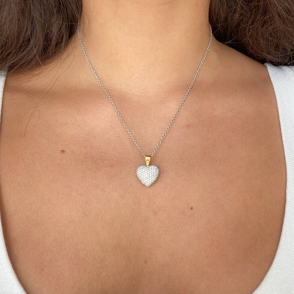 1.10ctw Pave Diamond Heart Pendant