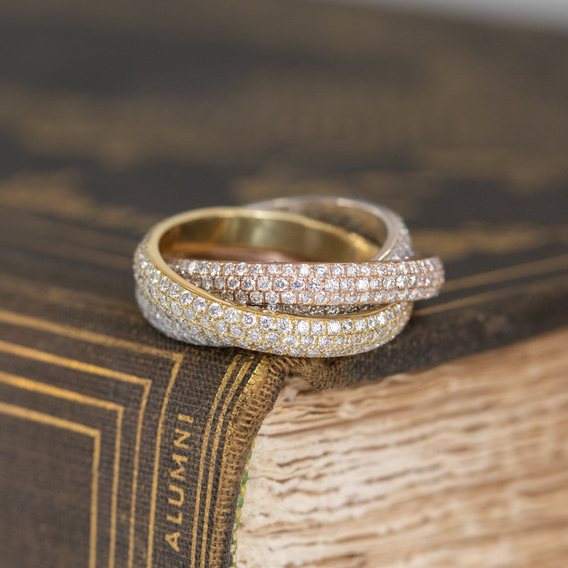 2.50ctw Tri-Gold Pave Eternity Rolling Ring