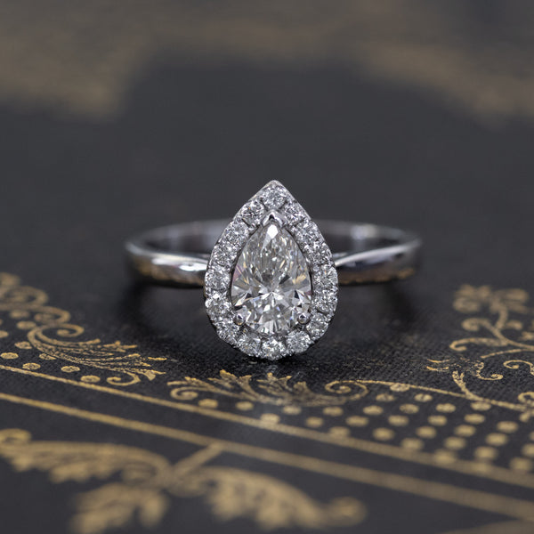 .95ctw Pear Shaped Diamond Halo Ring