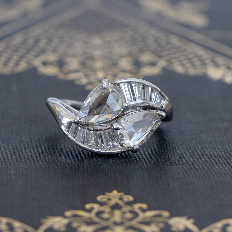 2.40ctw Vintage Pear Rose Cut Diamond Bypass Ring