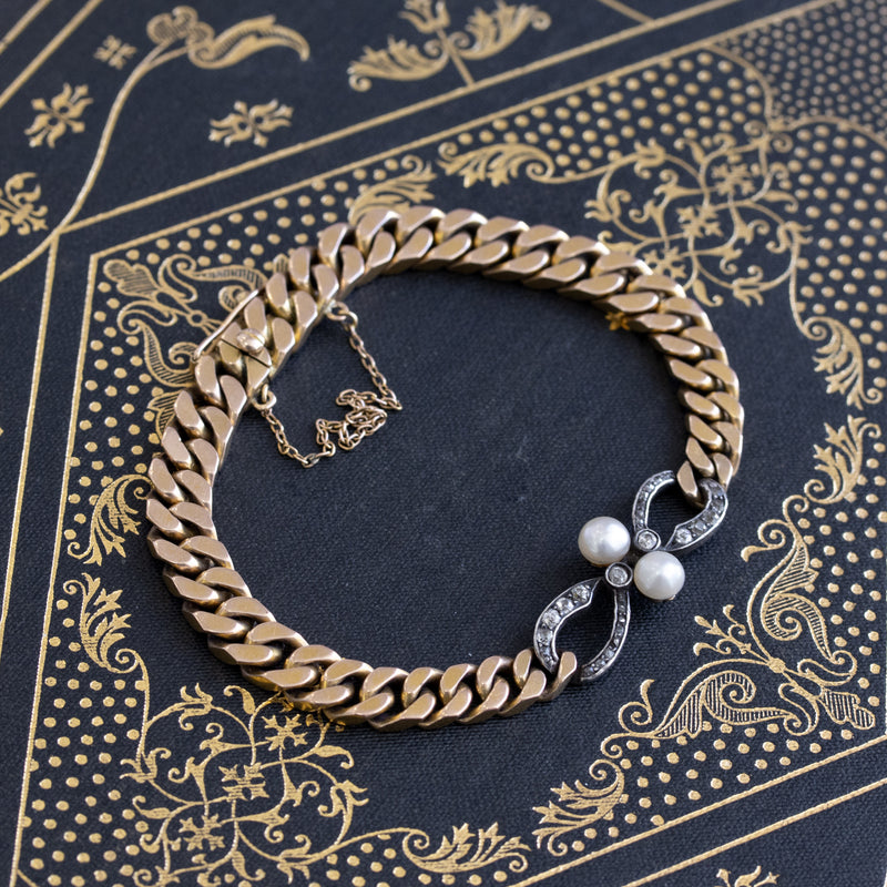 Pearl and Diamond Infinity Curb Link Bracelet, Astro-Hungarian