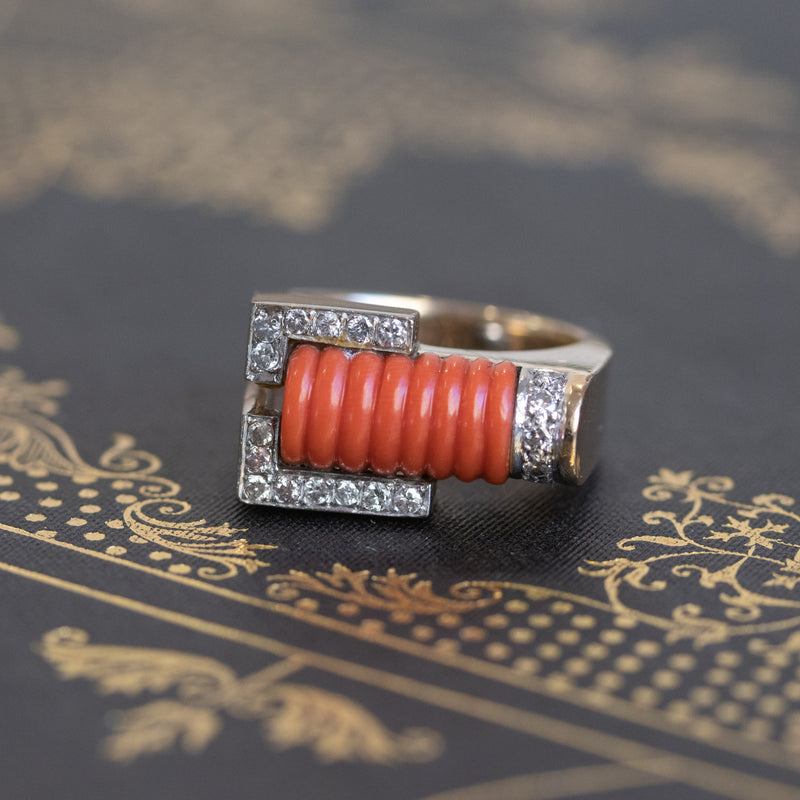Retro-Era Diamond and Coral Ring