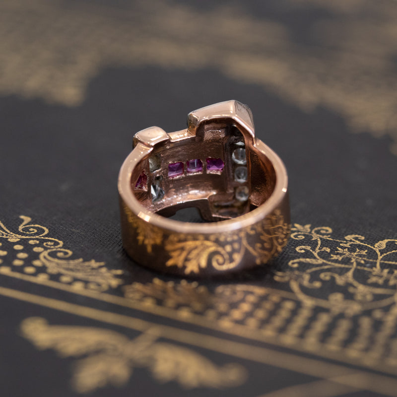 Retro Diamond and Ruby Buckle Ring
