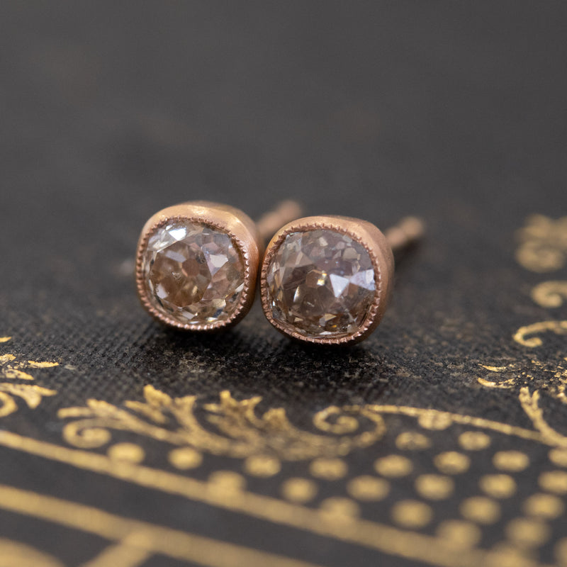 1.15ctw Mismatched Old Mine Cut Fancy Color Diamond Bezel Earrings