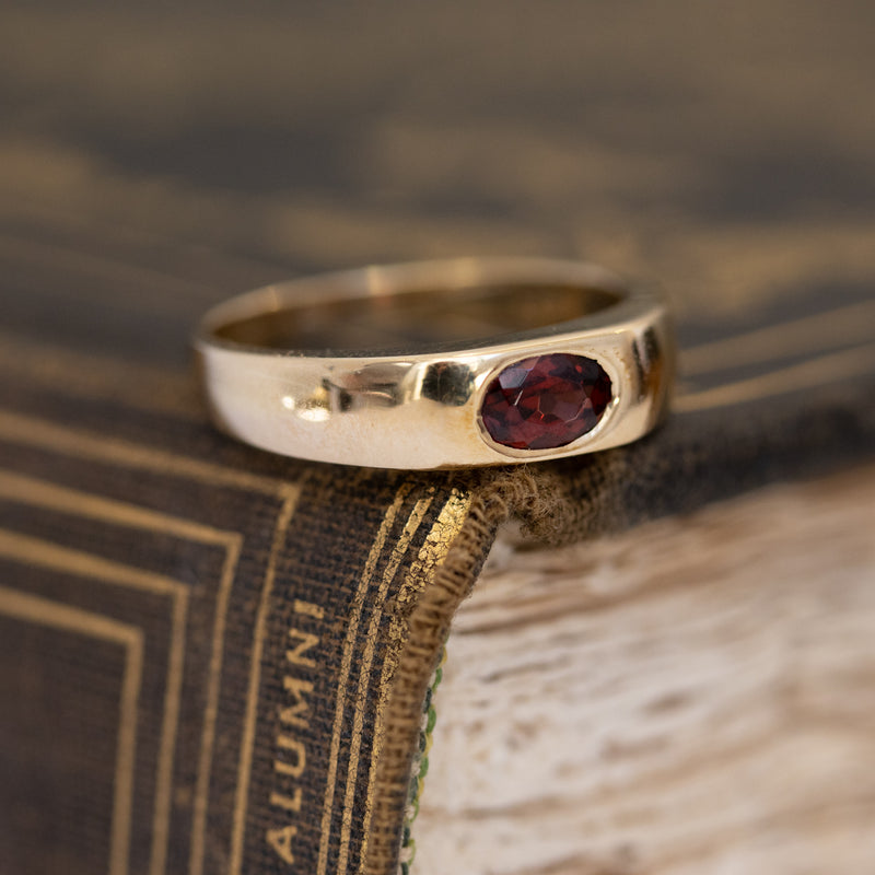 Vintage Garnet Yellow Gold Gypsy Ring