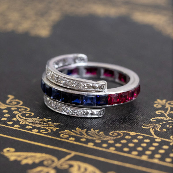 Ruby, Sapphire, and Diamond Art Deco Flip Ring