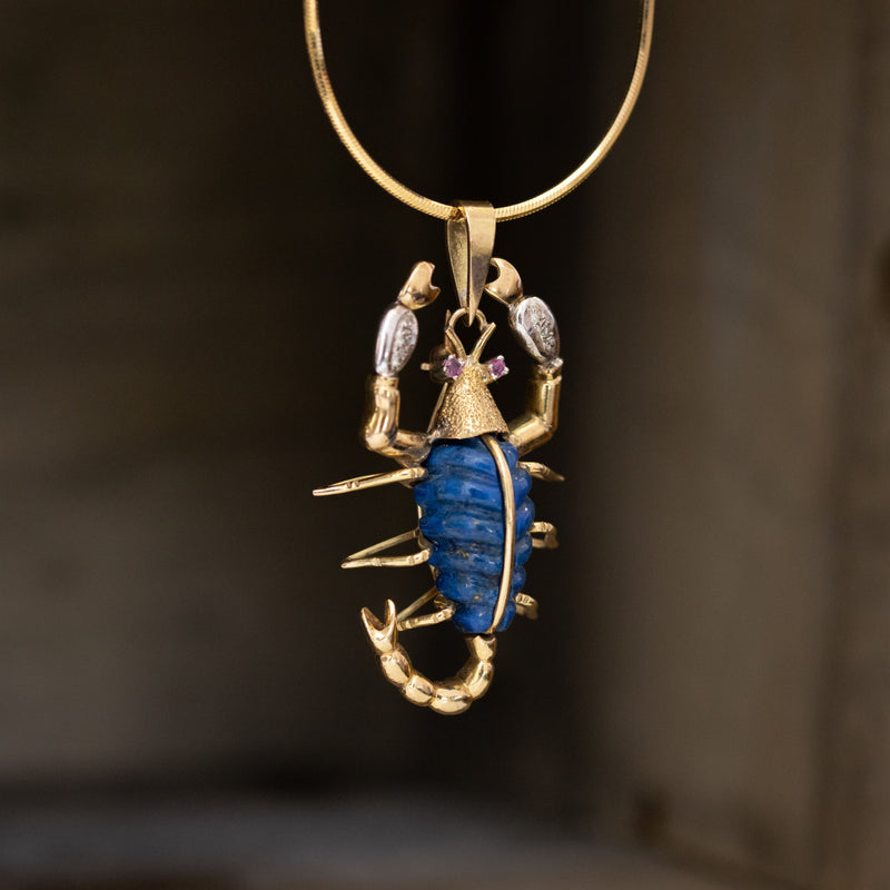 .30ctw Lapis Lazuli and Diamond Scorpion Pendant