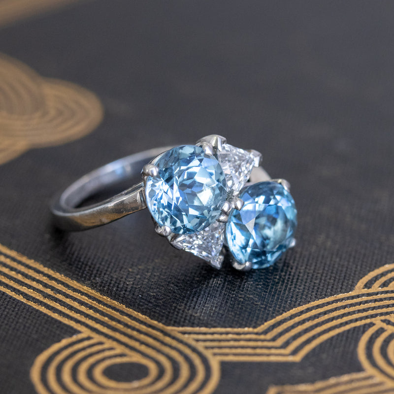 Mid-Century Aqua and Diamond Bypass Ring, by Seaman Schepps