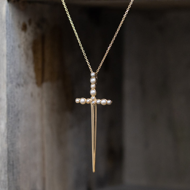 Seed Pearl Yellow Gold Dagger Pendant