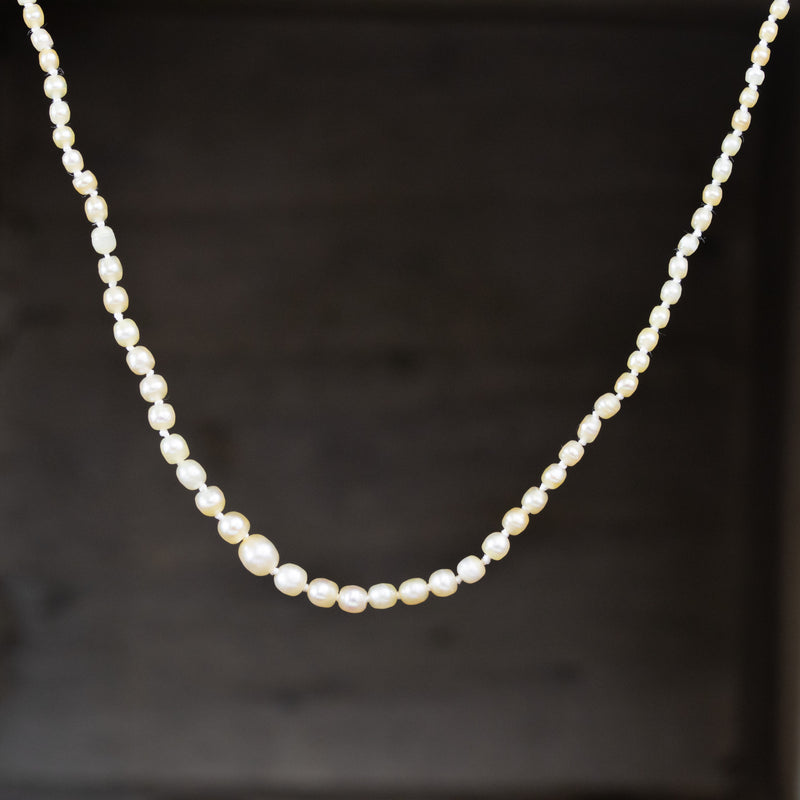 Antique Saltwater Pearl and Diamond Necklace, GIA