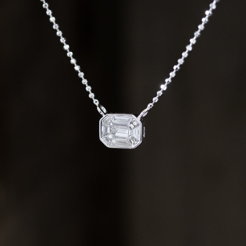 1.25ct Face Up Emerald Cut Mosaic Diamond Pendant