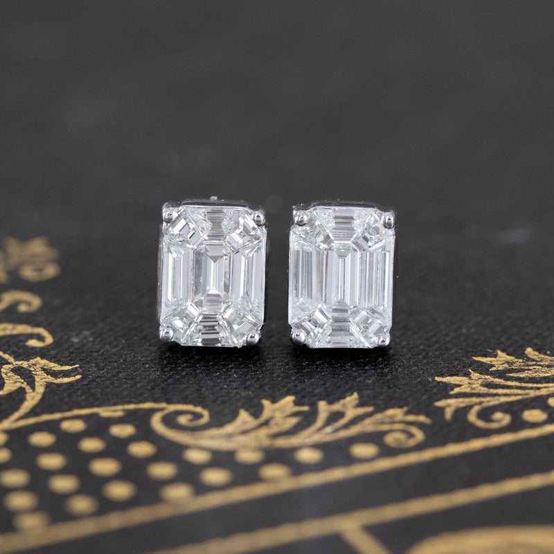 3.00ctw Face Up Emerald Cut Mosaic Diamond Studs