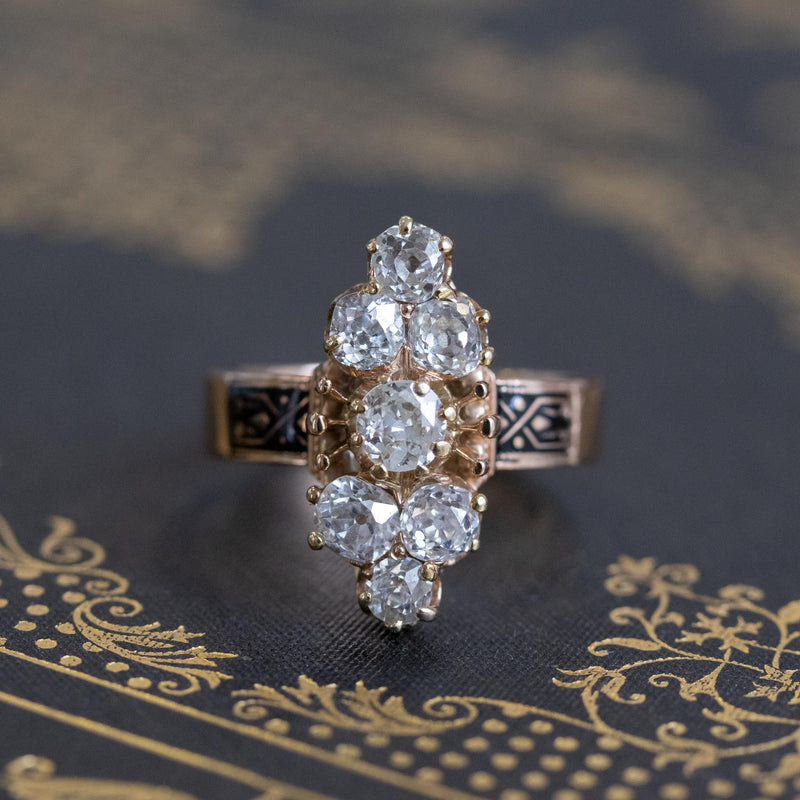 2.35ctw Old Mine and Cushion Cut Victorian Cluster Ring