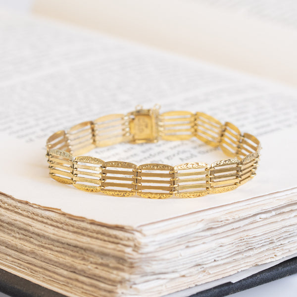 Victorian Gate Style Bracelet, 14kt Yellow Gold